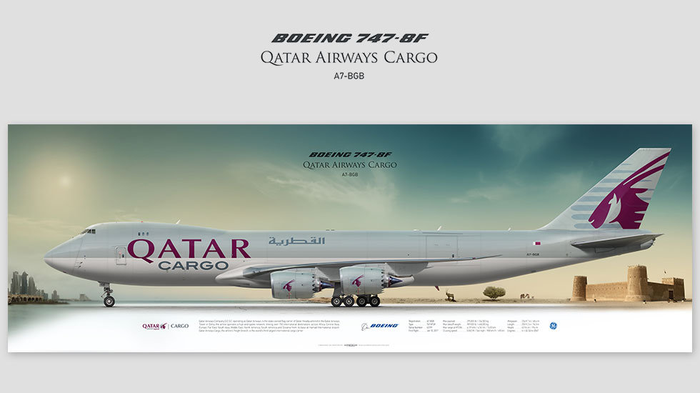 Boeing 747-8f  Qatar Cargo, gift for pilots, aviation art prints, aircraft print, custom posters, plane picture