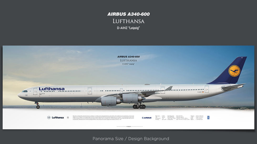 Airbus A340-600 Lufthansa, plane prints, retired pilot gift, aviation posters, airliners prints, civil aircraft print, DLH