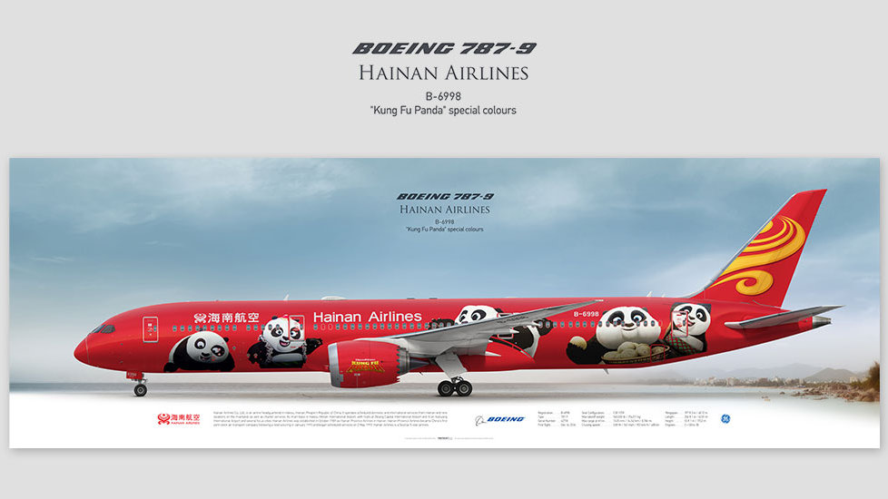 Boeing 787-9 Hainan Airlines, posterjetavia, profile prints, gift for pilots, aviation, airplane picture, airline, panda