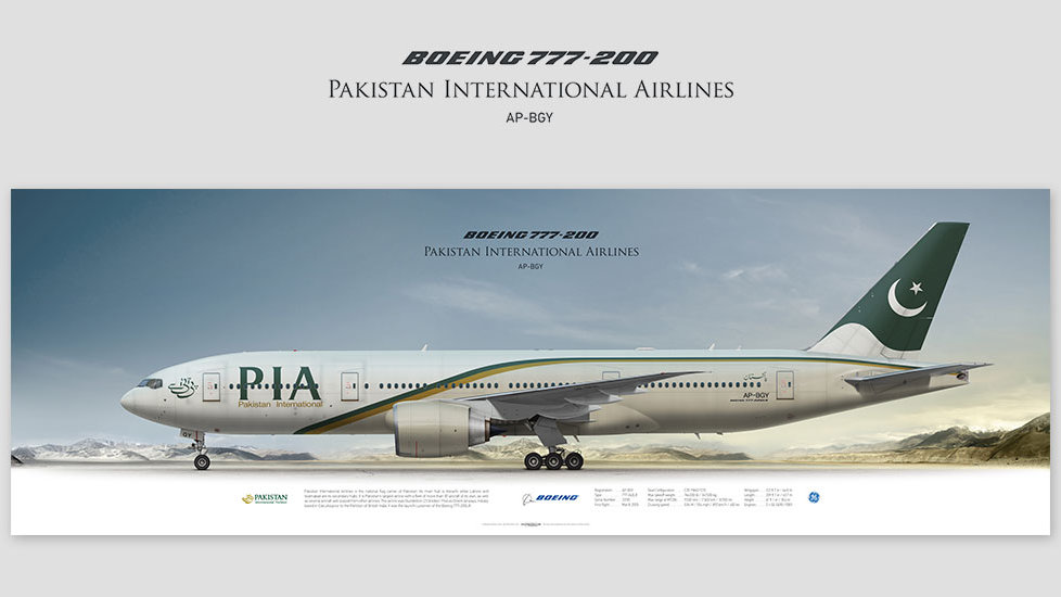 Boeing 777-200 Pakistan International Airlines, posterjetavia, gifts for pilots, aviation, airliner, pilotlife, aviationdaily