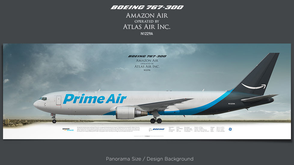 Boeing 767-300AmazonAir, Atlas Air Inc., plane prints, retired pilot gift, aviation posters, airliners prints, cargo plane