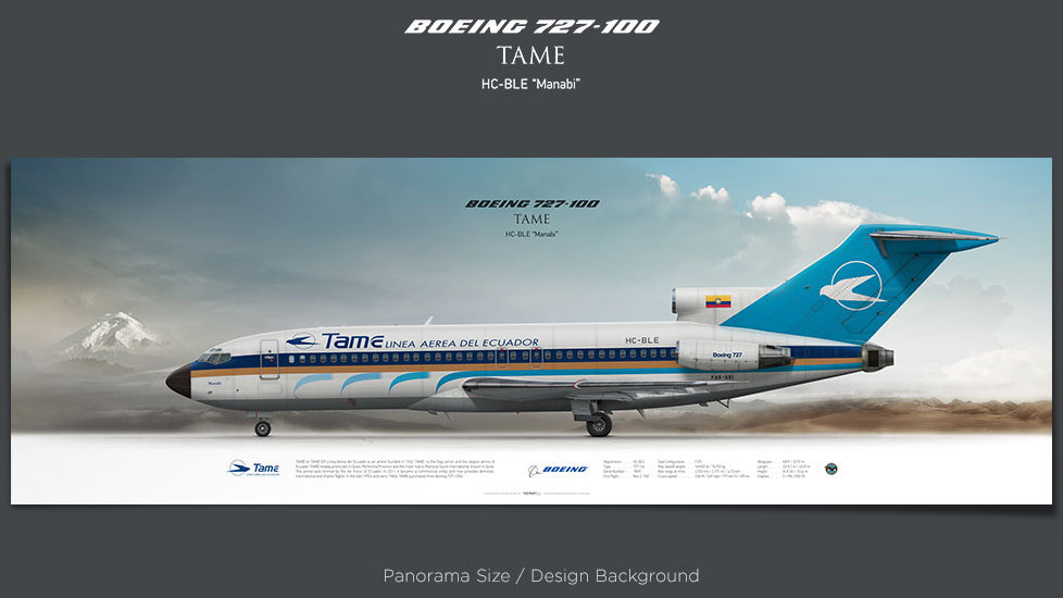 Boeing 727-100 TAME, plane prints, retired pilot gift, aviation posters, airliners prints, ttail, vintage aircraft, TAE