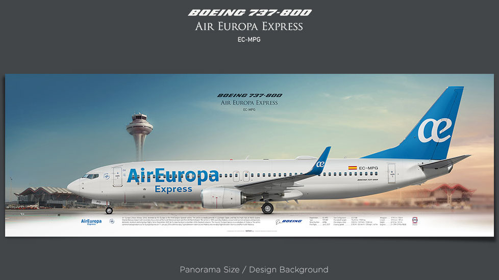 Boeing 737-800 Air Europa Express, AEA, plane prints, retired pilot gift, aviation posters, airliners prints, civil aircraft