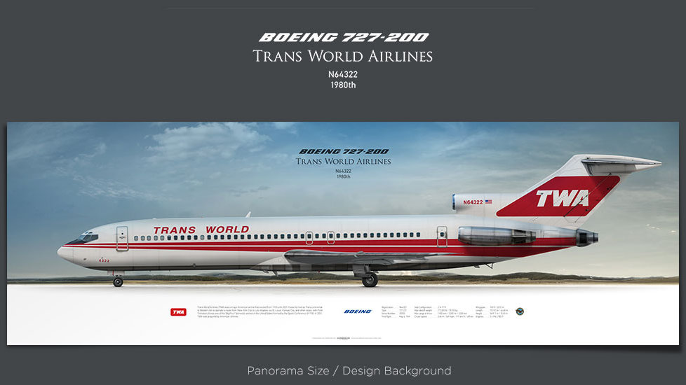 Boeing 727-200 Trans World Airlines, plane prints, retired pilot gift, aviation posters, airliners prints, vintage aircraft