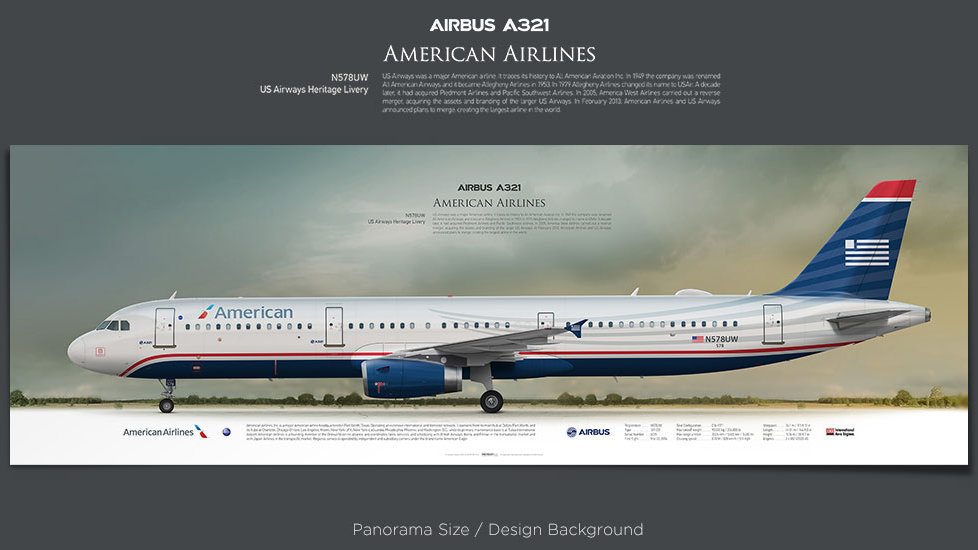 Airbus A321 American Airlines, plane prints, retired pilot gift, aviation posters, airliners prints, civil plane print