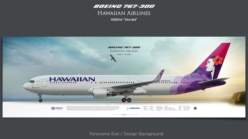 Boeing 767-300 Hawaiian Airlines, plane prints, retired pilot gift, aviation posters, airliners prints, plane print