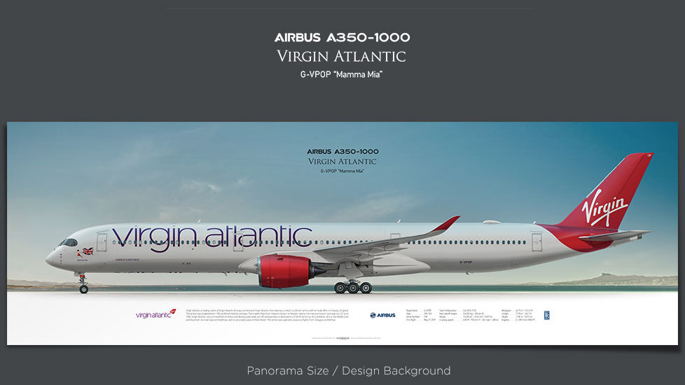 Airbus A350-1000 Virgin Atlantic, plane prints, retired pilot gift, aviation posters, airliners prints, civil aircraft prints