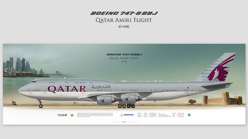 Boeing 747-8 BBJ Qatar Amiri Flight, posterjetavia, gifts for pilots, aviation, aviation art, avgeek, airplane pictures