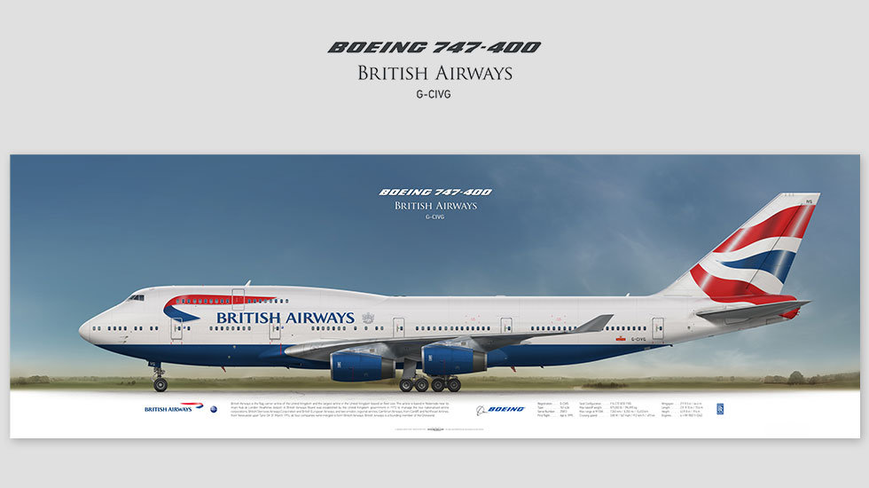 Boeing 747-400 British Airways, gift for pilots, aviation art, aircraft poster, custom posters, plane picture, jumbojet