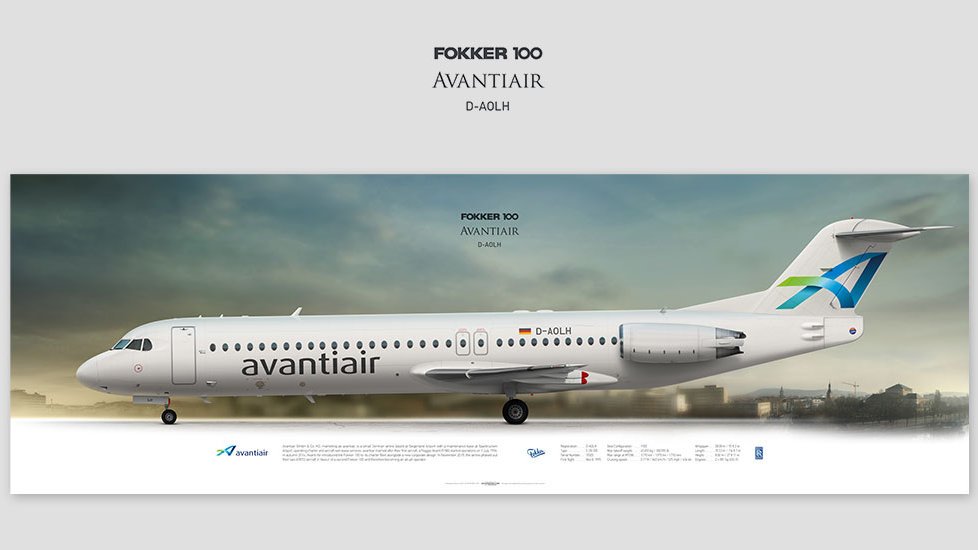 Fokker 100 Avantiair, gift for pilots, aviation art prints, aircraft poster, custom posters, plane picture