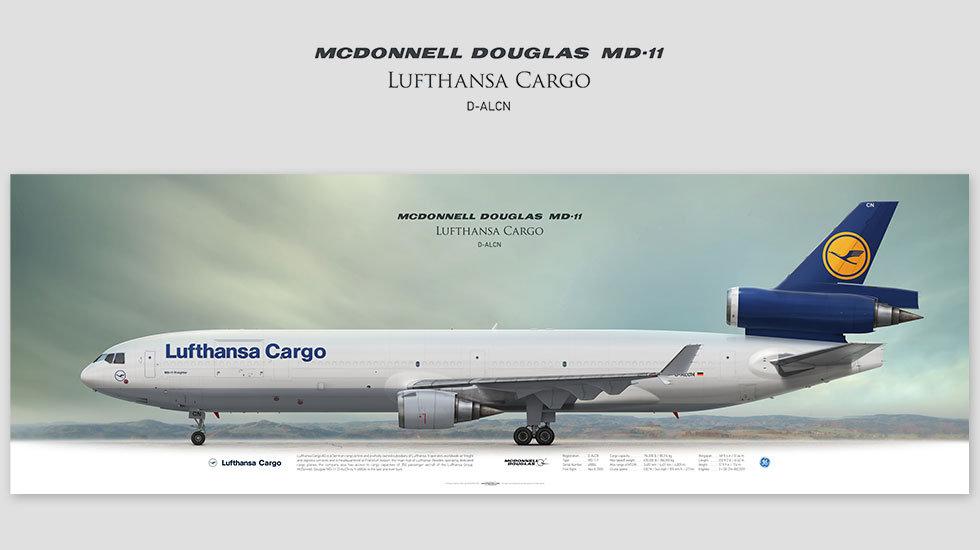 MD-11 Lufthansa Cargo, gift for pilots, aviation prints, avia poster, aircraft profile art prints, aircraft illustration, GEC