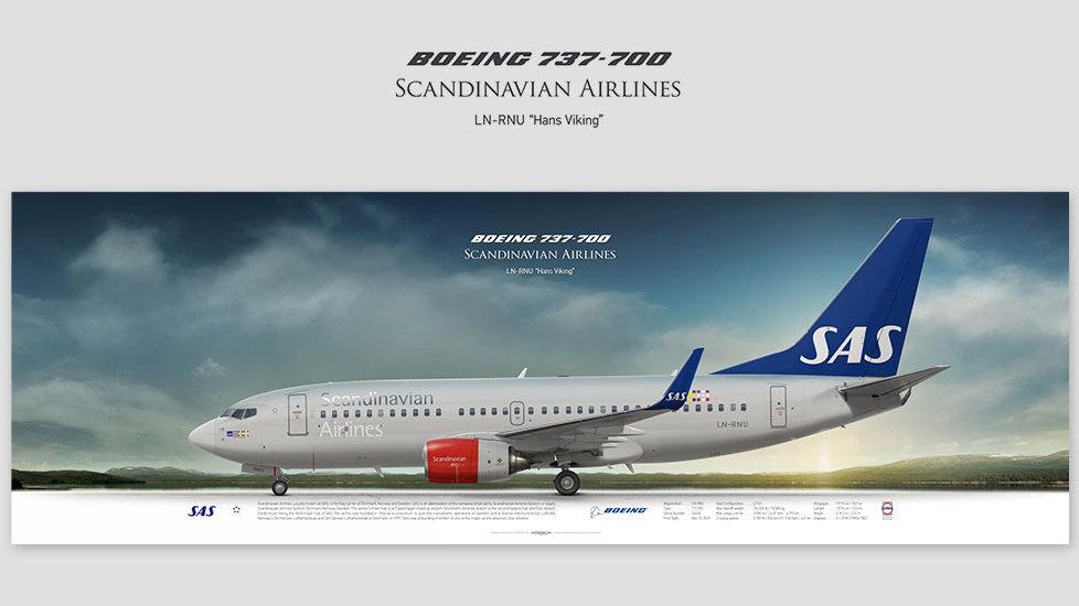 Boeing 737-700 Scandinavian, gift for pilots, aviation art prints, aircraft poster, custom posters, SAS, airlines, pilot