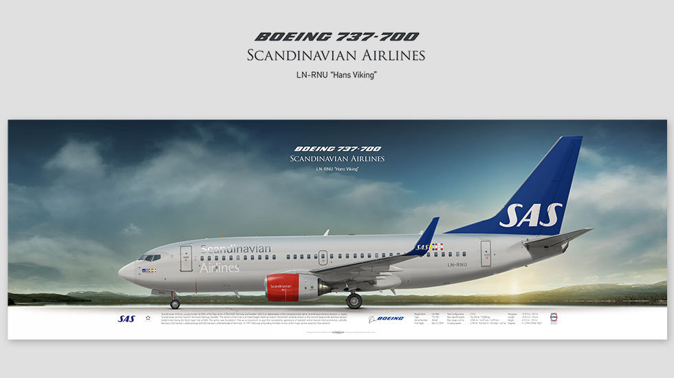 Boeing 737-700 Scandinavian, gift for pilots, aviation art prints, aircraft poster, custom posters, SAS, airlines, pilot