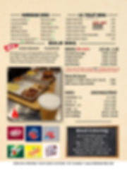 Single Page Restaurant Menu Aug 2019 Bac