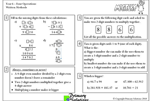 Y6 Mastery Maths - Four Operations