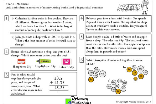 Y3 Mastery Maths - Measures