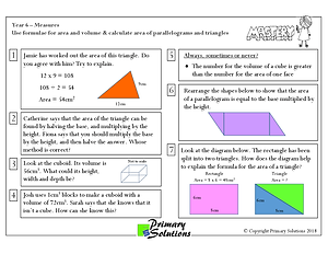 Mastery - Y6 Use formulae for area and v