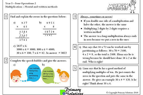 Y5 Mastery Maths - Four Operations - Part 2