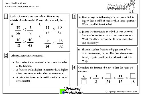 Y5 Mastery Maths - Fractions 1