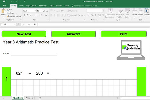 Year 3 Arithmetic Practice Tests