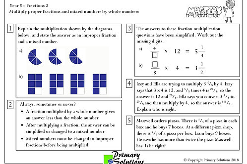 Y5 Mastery Maths - Fractions 2