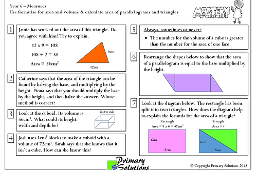 Y6 Mastery Maths - Measures