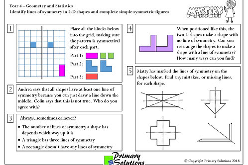 Y4 Mastery Maths - Geometry and Statistics