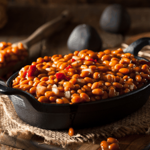 Cider Baked Beans with Diced Apple