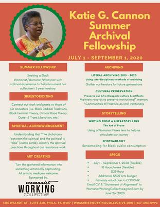 Katie G. Cannon Summer Archival Fellowship