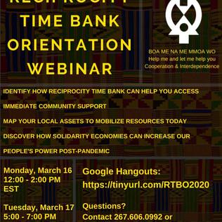 Reciprocity Time Bank Orientation Webinars