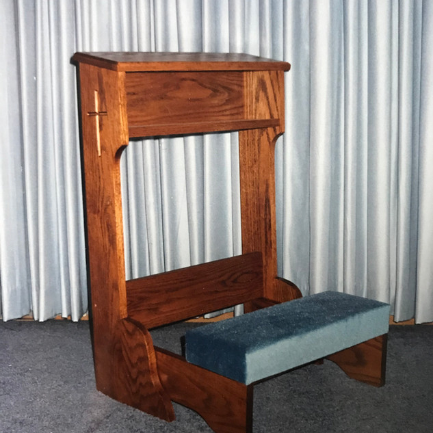 Kneeler shown in blue velvet