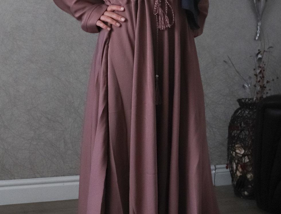 Mauve Plain Umbrella Abaya