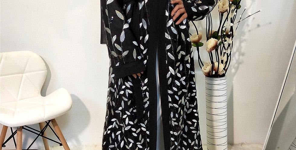 Alshafaq Silver Sequin Kimono