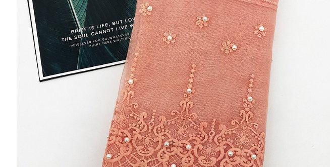Peach Blossom Lace Pearl Hijab