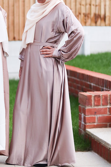 Yusra Taupe Satin Maxi Dress