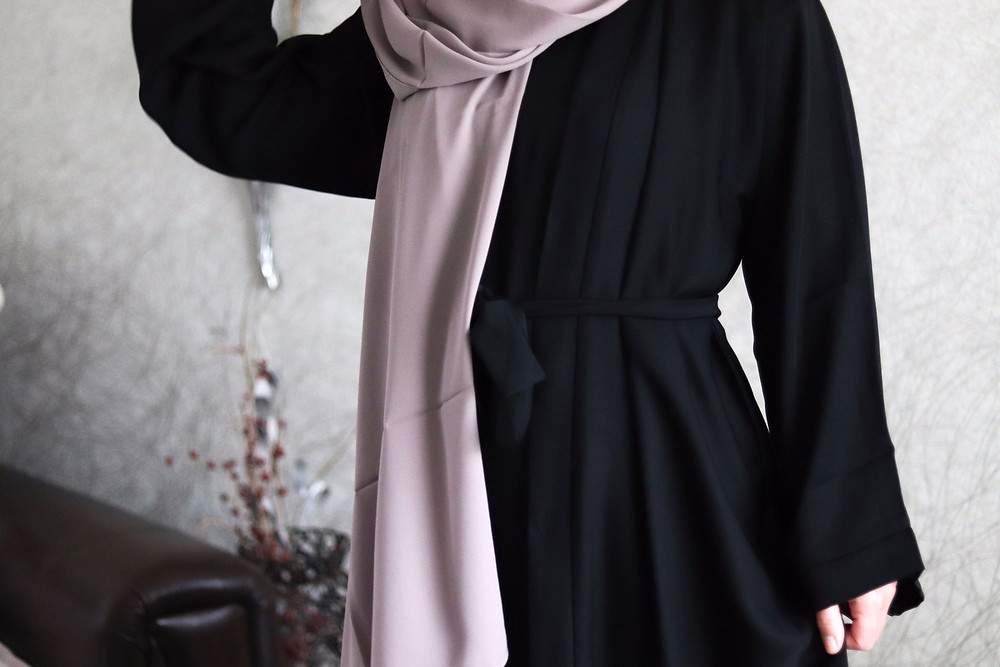veil and virtue ramadan wardrobe Plain Open Abaya in Black Slip Dress Murih Hijab in Mink