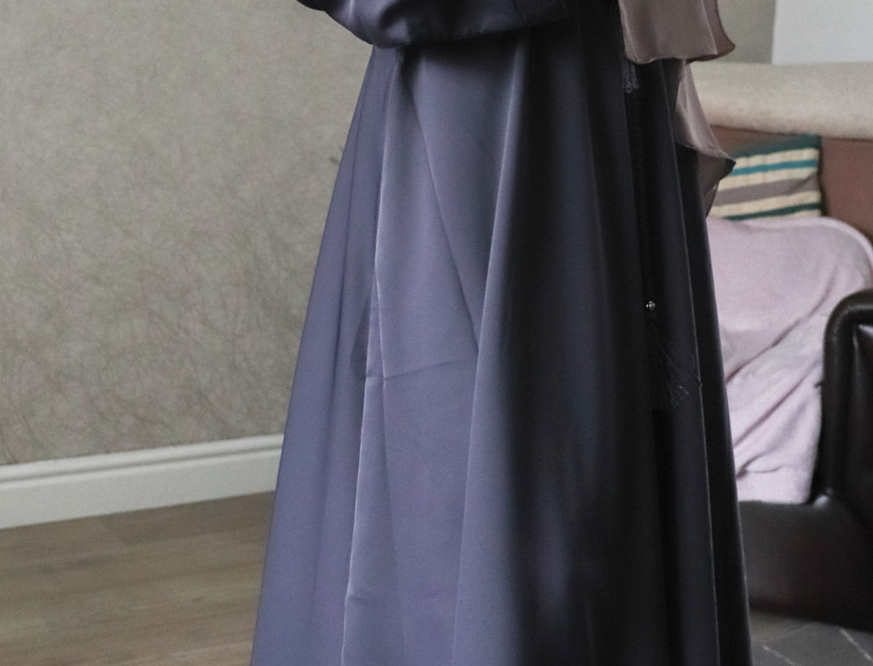 Grey Plain Umbrella Abaya