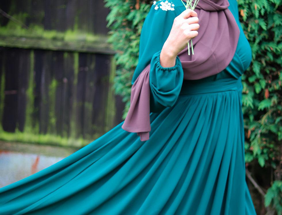 Alima Pleated Waist Dress Forest