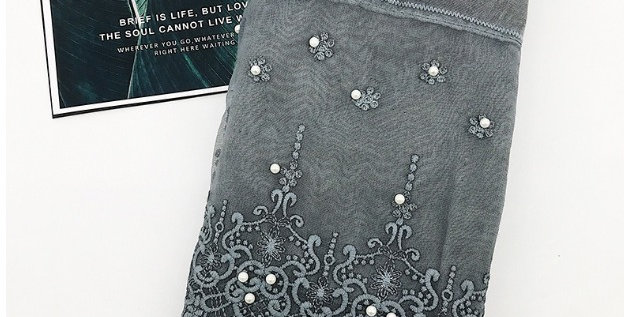 Pewter Lace Pearl Hijab