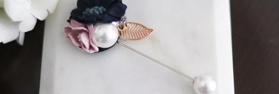 Navy Flower Hijab Pin
