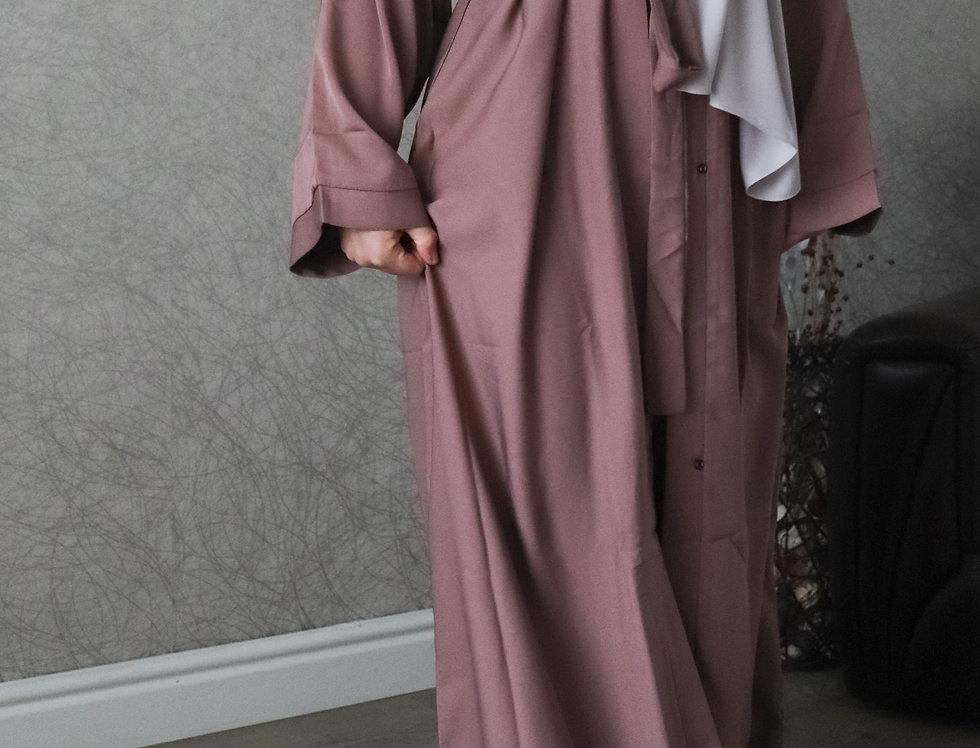Mauve Plain Open Abaya
