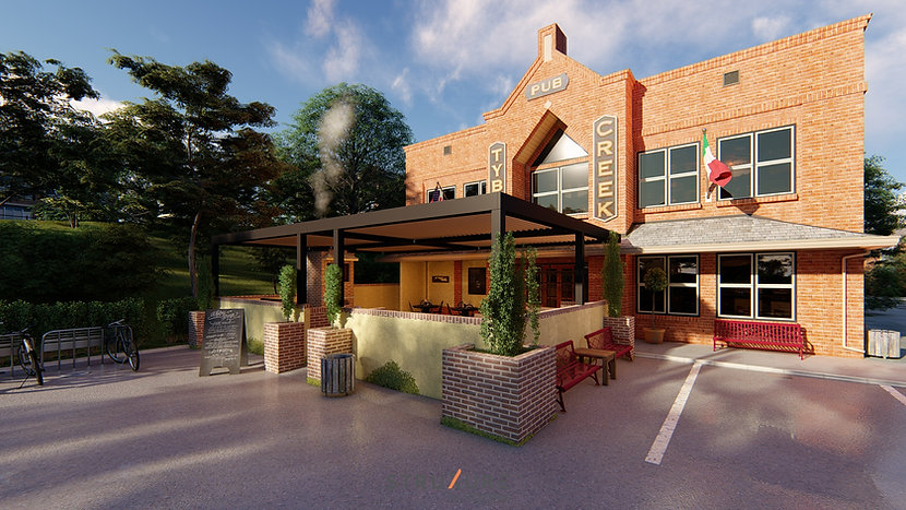 restaurant patio design 3d rendering
