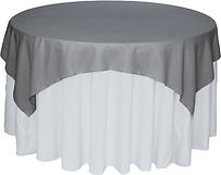 grey overlay with any color tablecloth
