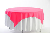 round white tablecloth and red overlay