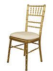 Gold chiavari chairs with white cushion