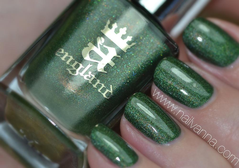 a england,dragon,green,holographic,legends,nailvanna,nail polish reviews,lacquer,
