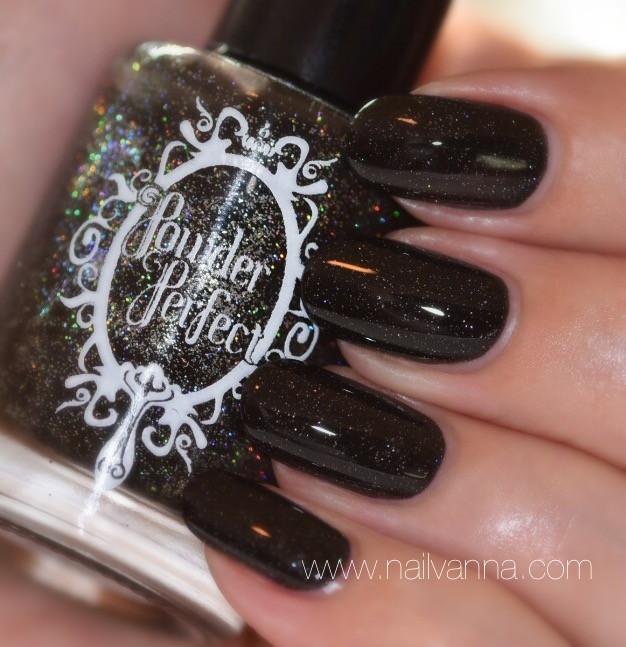 Nailvanna,nail polish reviews,lacquer,Powder Perfect, Black Like My Soul