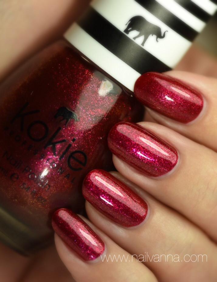Nailvanna,nail polish reviews,lacquer,Kokie,Cabaret,red shimmer