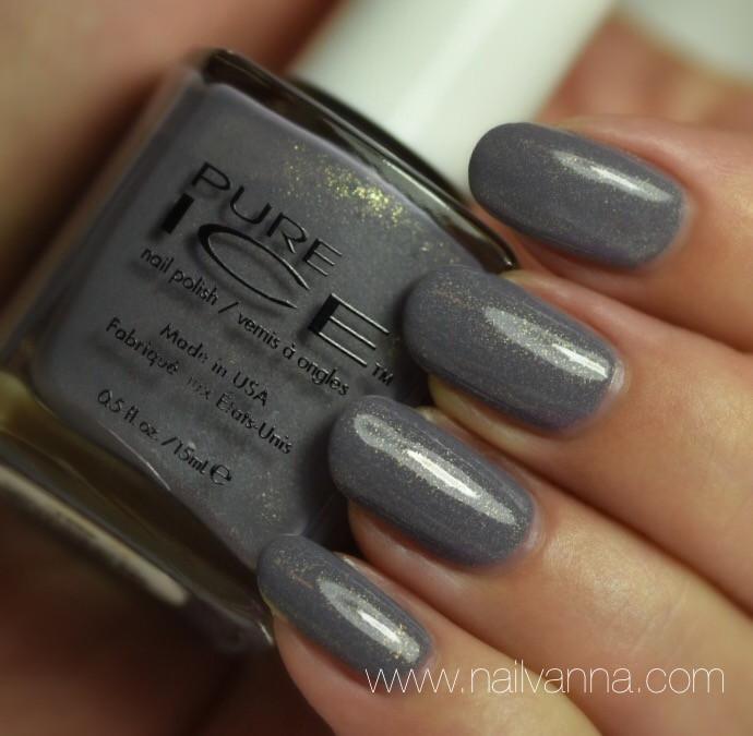 Nailvanna,nail polish reviews,lacquer,Pure Ice,Stone Cold,Grey,Gold Shimmer