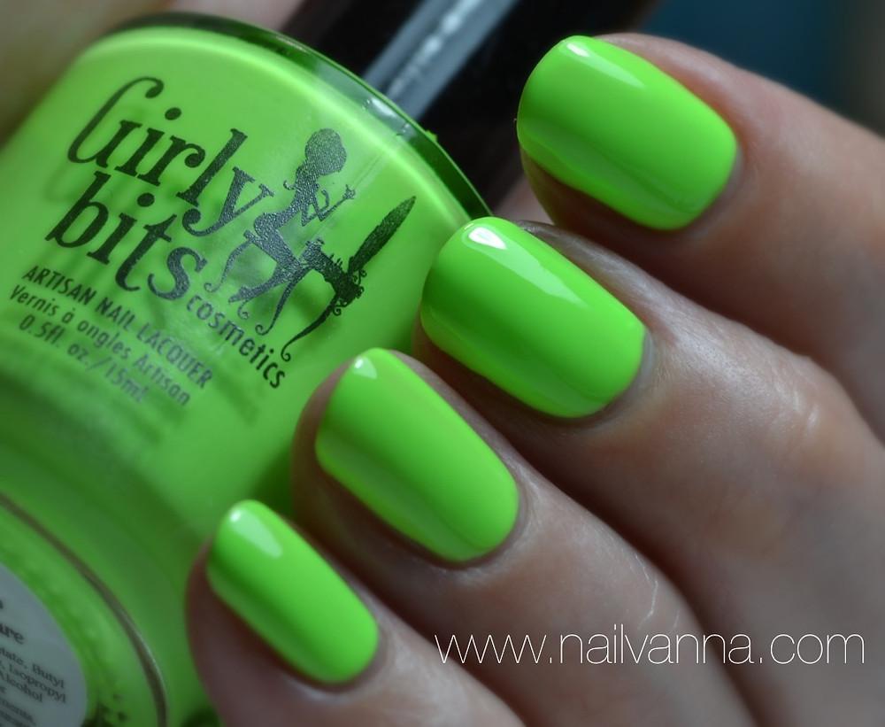 Nailvanna,nail polish reviews,lacquer,girly bits cosmetics,it's hoop to be square,neon green
